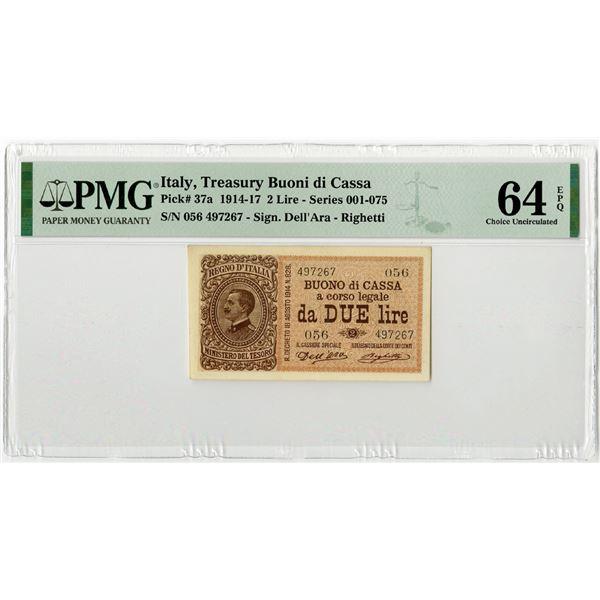 """Treasury Buoni di Cassa, 1914-17 """"Top Pop"""" Issued Banknote"""