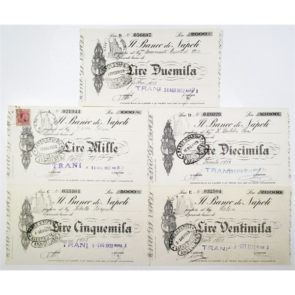 Banco di Napoli. 1932-1933. Lot of 5 Issued Interest Bearing Notes - Similar to Depression Scrip.
