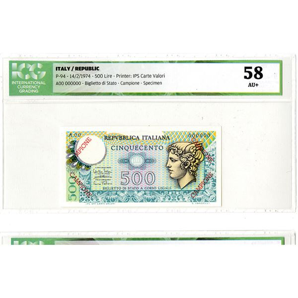 Repubblica Italiana. 1974. Specimen Banknote.