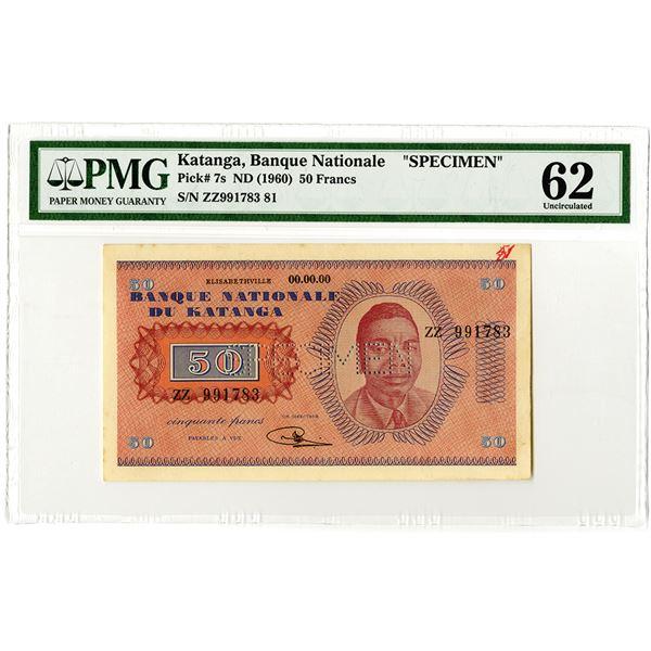 Banque Nationale du Katanga. ND (1960). Specimen Banknote.