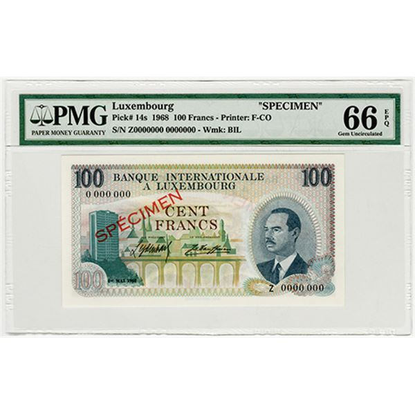 Banque Internationale a Luxembourg. 1968. Specimen Banknote.