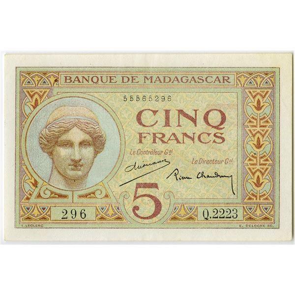 Banque de Madagascar. ND (ca. 1937) Issue Banknote.