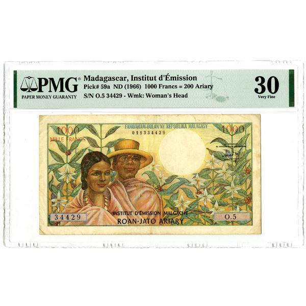 Madagascar, Institut d'Emission Malgache, ND (1966) Issued Banknote