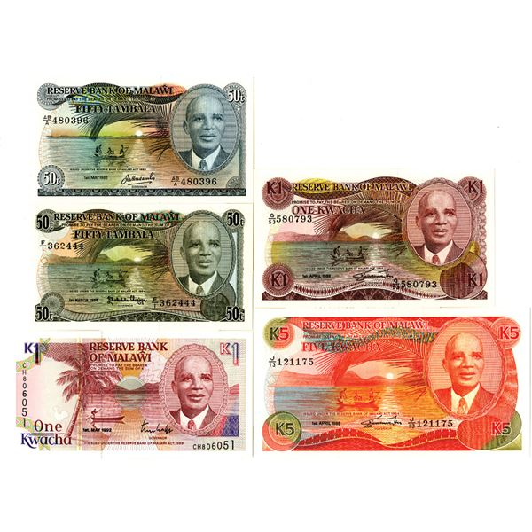 Reserve Bank of Malawi Issued Banknote Quintet, 1988-92
