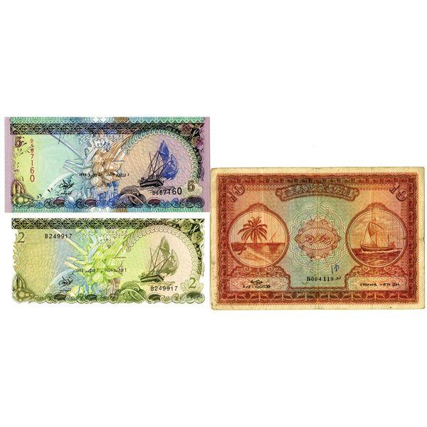 Maldives Monetary Authority, 1947 to 1998 Trio of Notes