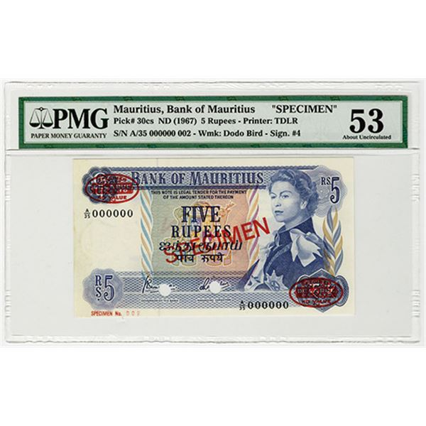 Bank of Mauritius. ND (1967). Specimen Banknote.