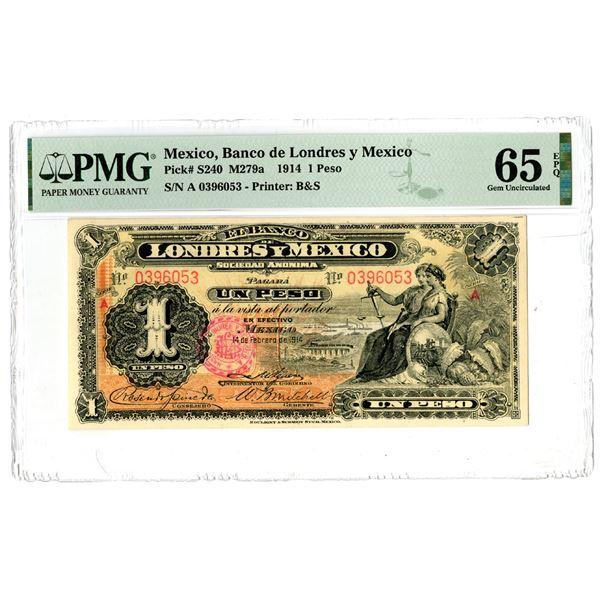 """Banco de Londres y Mexico, 1914 """"Top Pop"""" Issued Banknote"""