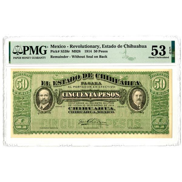 Estado de Chihuahua, 1914 Remainder Banknote
