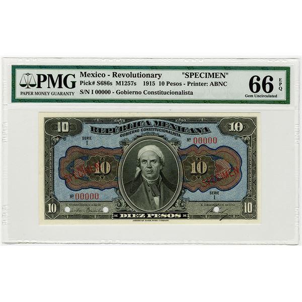 Republica Mexicana (Revolutionary). 1915. Specimen Banknote.