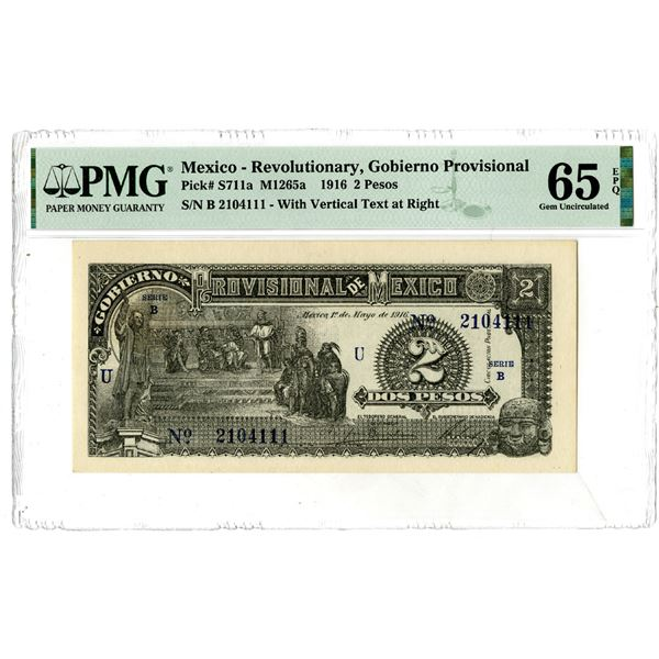 Gobierno Provisional de Mexico, 1916 Issued Banknote
