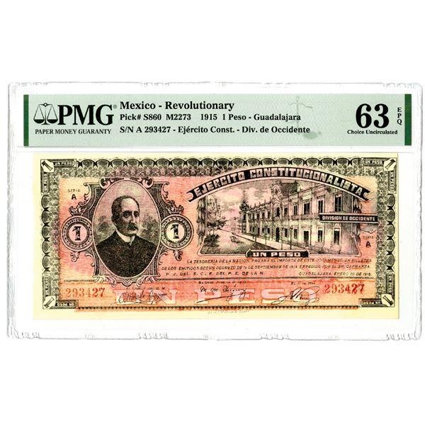 "Ejercito Constitucionalista, 1915, ""Top Pop"" Issued Banknote"