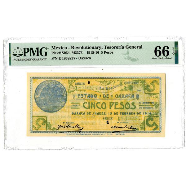 """Tesoreria General Estado de Oaxaca, 1915-16 """"Top Pop"""" Issued Banknote"""