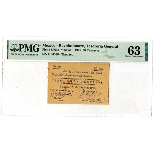 """Tesoreria General Estado de Tlaxiaco, 1916 """"Top Pop"""" Issued Banknote"""