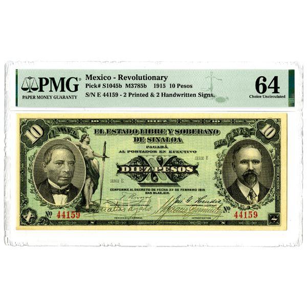 El Estado Libre y Soberano de Sinaloa, 1915 Issued Banknote