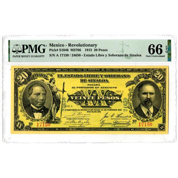 """El Estado Libre y Soberano de Sinaloa, 1915 """"Top Pop"""" Issued Banknote"""