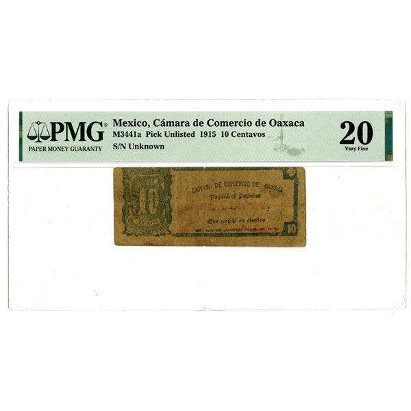 Camara de Comercio de Oaxaca, 1915 Issued Banknote, No others Graded Previously and First Time Offer
