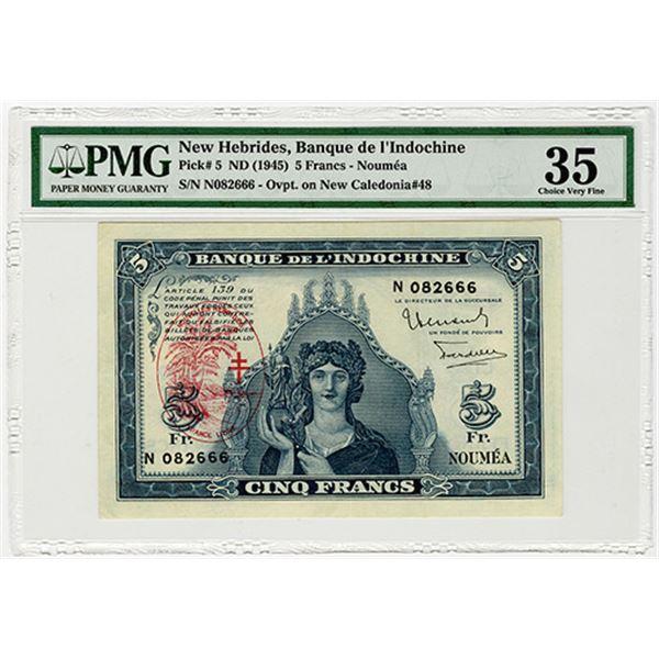 Banque de L'Indochine. ND (1945). Issued Banknote.