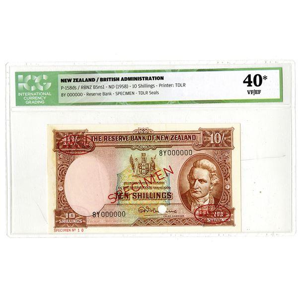 Reserve Bank of New Zealand. ND (1958). Specimen Banknote.