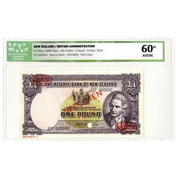 Reserve Bank of New Zealand. ND (1960). Specimen Banknote.