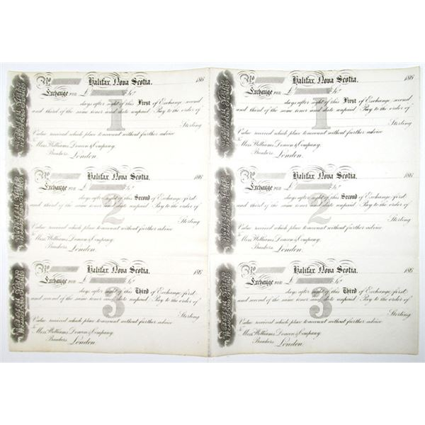 Halifax, Nova Scotia, 1860's Uncut Pair of Remainder Sheets of First, Second, and Third of Exchanges