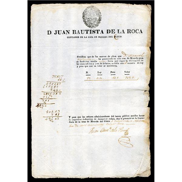 D Juan Bautista de la Roca, Counter of the Cuzco Mint Document, ca.1827