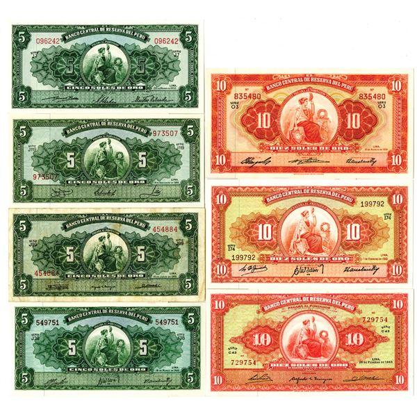 Banco Central de Reserva del Peru, 1950-1960s Lot of 13 Issued Banknotes