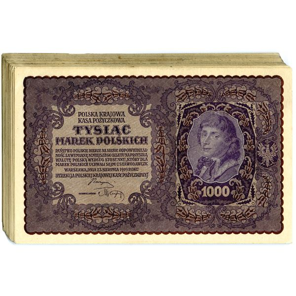 Polish State Loan Bank, 1919 Third Issue Lot of 56 Notes