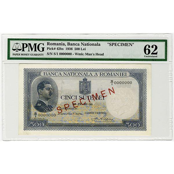 Banca Nationala a Romaniei. 1936. Specimen Banknote.