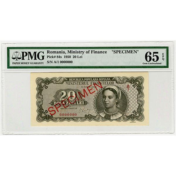 Ministerul Finantelor (Ministry of Finance). 1950. Specimen Banknote.