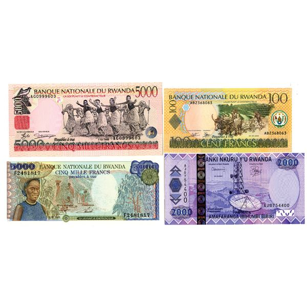 Banque Nationale du Rwanda. 1978-2004. Lot of 9 Issued Notes.