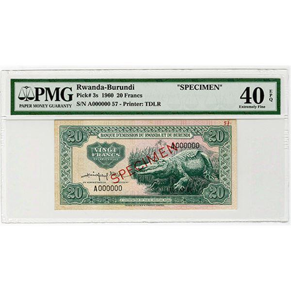 Banque d'Emission du Rwanda et du Burundi. 1960. Specimen Banknote.