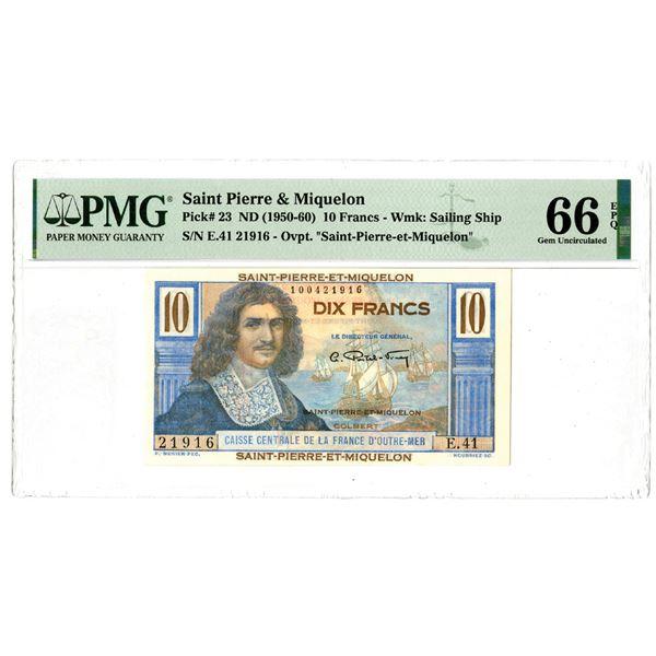 Saint-Pierre-et-Miquelon, ND (1950-60) Issued Banknote