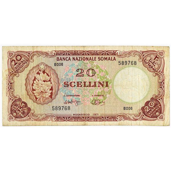 Banca Nazionale Somala. 1971 Issue Banknote.