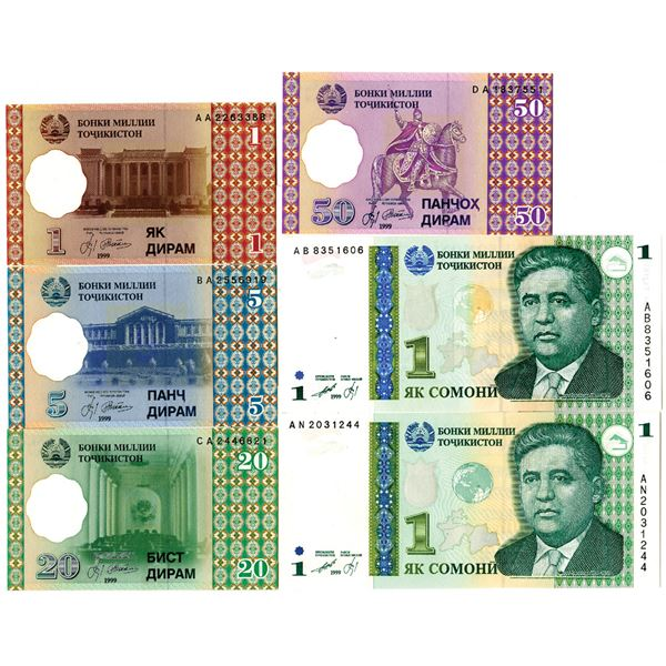 National Bank of the Republic of Tajikistan. 1999-2017. Lot of 12 Issued Notes.