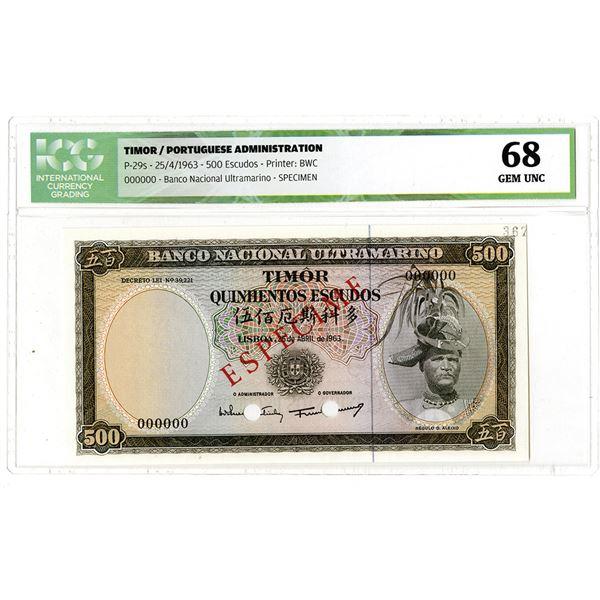 Banco Nacional Ultramarino. 1963. Specimen Banknote.