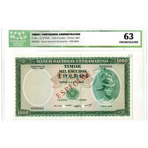 Banco Nacional Ultramarino. 1968. Specimen Banknote.
