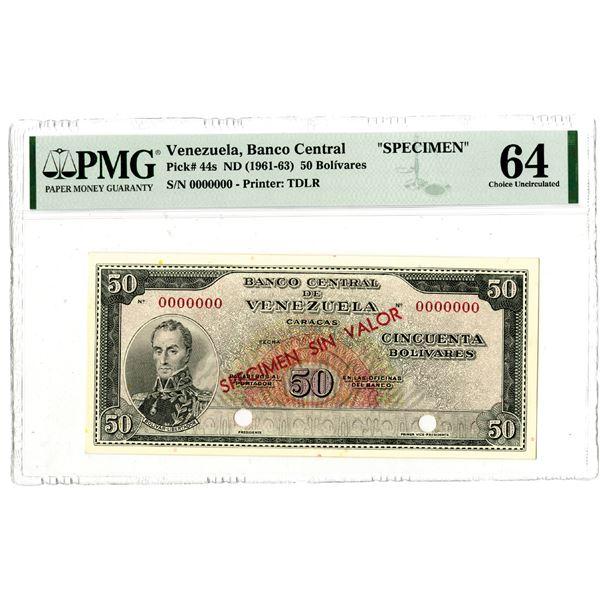 Banco Central de Venezuela, ND (1961-63) Specimen Banknote