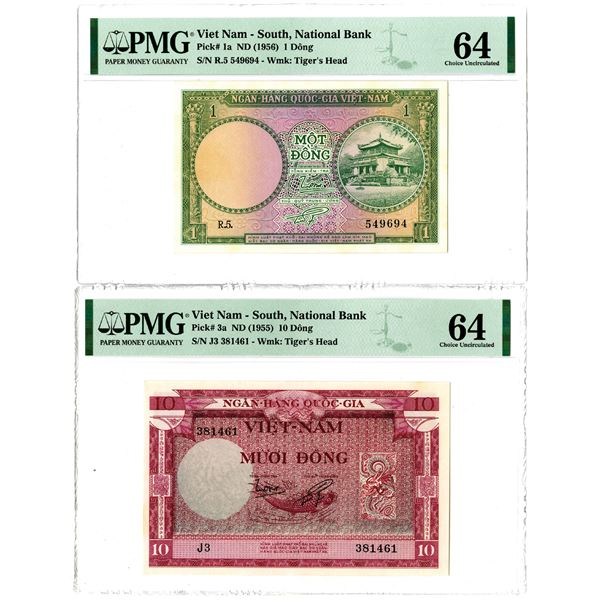 South Viet Nam, National Bank of Viet Nam, ND (1955) & (1956) Issued Banknote Pair