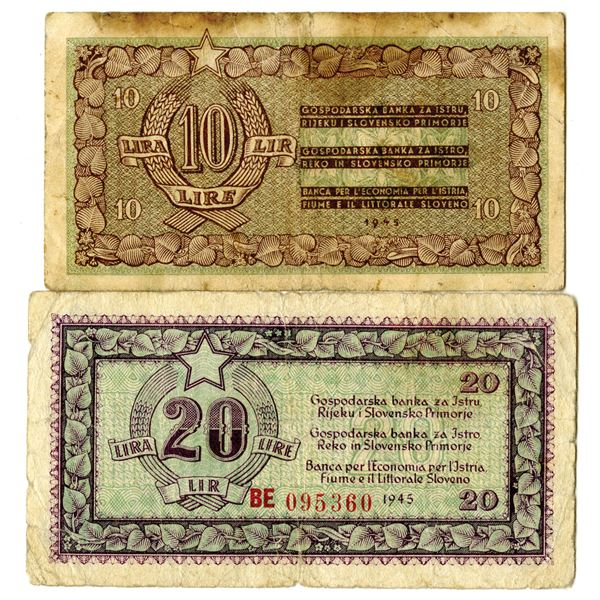 State Bank for Istria, Fiume and Slovene Coastal Area, 1945 Issued Banknote Pair