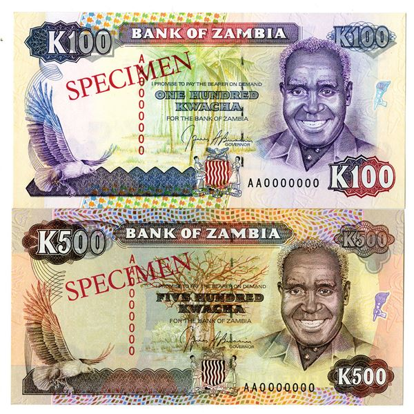 Bank of Zambia. ND (1991). Lot of 2 Specimen Notes.