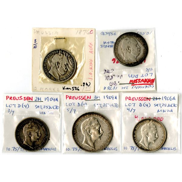 German States - Prussia, 1876 to 1909 2 Mark and 3 Mark Coin Assortment.