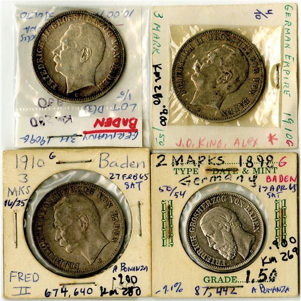 German States - Baden, 1898 to 1910 Coin Quartet