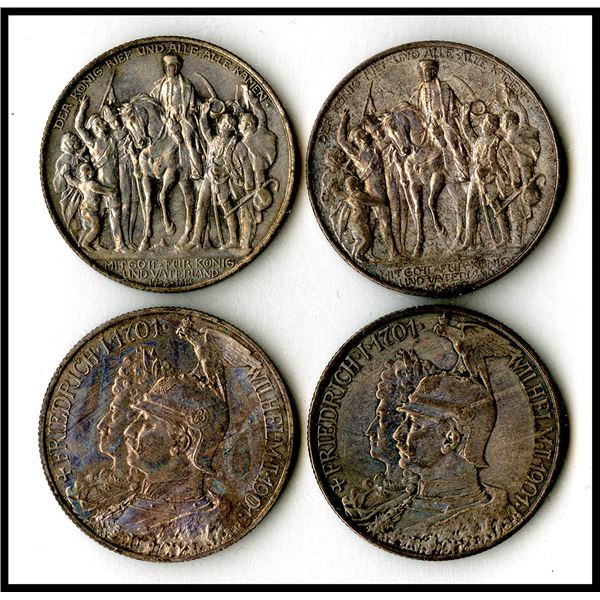 German States - Prussia, 1901 and 1913, 2 Mark Coin Quartet