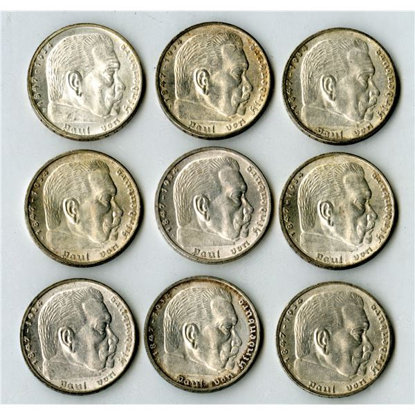 Germany, Third Reich, 1935, 5 Mark, KM#86 Coin Assortment.