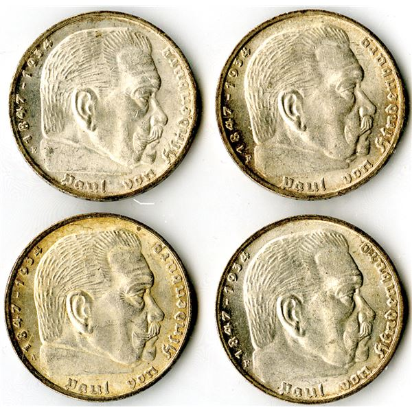 Germany, Third Reich, 1938, 5 Mark, KM#94 Coin Assortment.