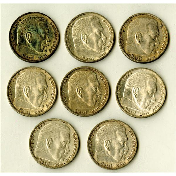 Germany, Third Reich, 1939, 5 Mark, KM#94 Coin Assortment.