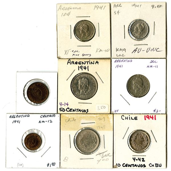 South American Coin Assortment, All dated 1941