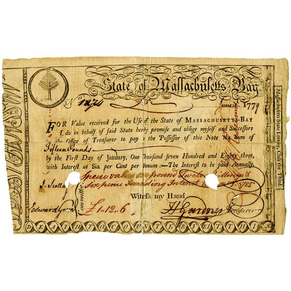 State of Massachusetts Bay, 1779 Issued Promissory Note Signed by Henry Gardner