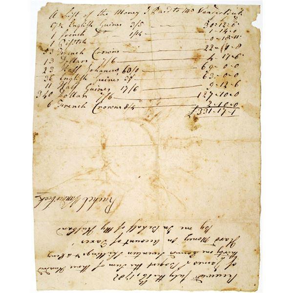 Rachel Vanderbeek, 1782 Handwritten Paid Tax Receipt