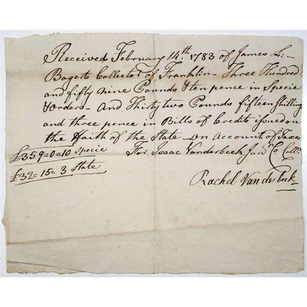 Franklin, NJ. Isaac and Rachel Vanderbeek, 1783 Handwritten Paid Tax Receipt